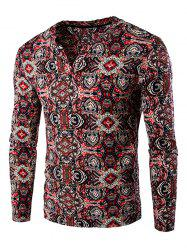 Vintage Totem Print Long Sleeve Tee - RED