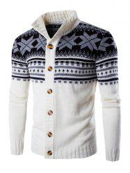 Geometric Design Long Sleeve Sweater Coat - WHITE