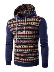 Ethnic Style Stripe Printed Hoodie - DENIM BLUE