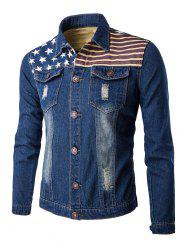 Flag Print Frayed Design Denim Jacket - DEEP BLUE