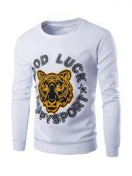 Tiger and Letter Print Long Sleeve Sweatshirt -