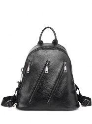 Textured Leather Metal Zippers Backpack - BLACK