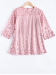 Attractive Plaid Spliced Polka Dot Chiffon Blouse