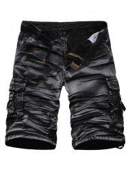 Crinkly Zipper Fly Multi Pockets Rivet Embellished Cargo Shorts