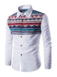 Ethnic Geometric Print Long Sleeve Shirt - WHITE