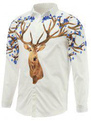 Turn-Down Collar Long Sleeve Sika Deer Printed Shirt -