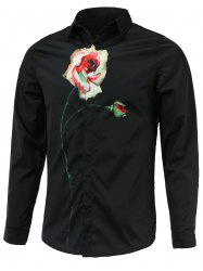 Rose Print Turn-Down Collar Long Sleeve Shirt -