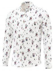 Tiny Flowers Print Turn-Down Collar Long Sleeve Shirt
