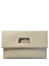 Magnetic Closure PU Leather Cut Out Clutch Bag - LIGHT GRAY