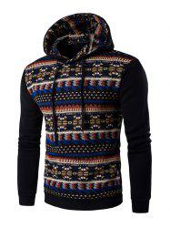Ethnic Style Printed Long Sleeves Hoodie - BLACK