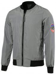 Patch Design Rib Splicing Zip Up Jacket For Men - GRAY 5XL