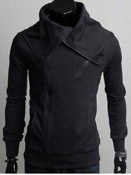 Wide Lapel Collar Zippers Design Casual Hoodie -