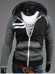 Patchwork Design Zipper Flying Casual Hoodie - BLACK 2XL
