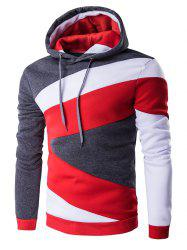Color Blocks Spliced Long Sleeve Black Red Hoodie