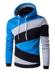 Color Blocks Spliced Long Sleeve Hoodie