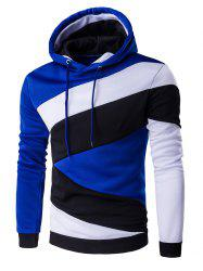 Color Blocks Spliced Long Sleeve Hoodie - SAPPHIRE BLUE