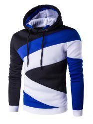 Color Blocks Spliced Long Sleeve Hoodie - BLUE AND BLACK