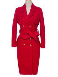 Lapel Double-Breasted Furcal Pocket Design Coat -