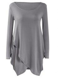 Long Sleeve Flounced Asymmetric Casual Dress Fall -