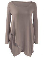 Long Sleeve Flounced Asymmetric Casual Dress Fall