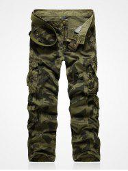 Camo Multi-Pocket Rivet Embellished Zipper Fly Cargo Pants