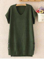 Plus Size Buttoned Short Sleeve Jumper Dress - ARMY GREEN 3XL
