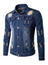 Frayed Design Mid-Wash Denim Jacket - DEEP BLUE