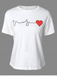 Stylish Round Neck Short Sleeve Heart Print Women's T-Shirt -