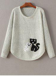 Round Collar Cat Jacquard Sweater -