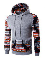 Patchwork Design Geometric Print Hoodie - LIGHT GRAY