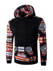 Patchwork Design Geometric Print Hoodie - BLACK