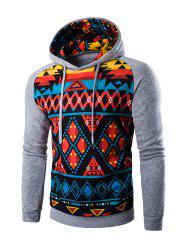 Cartoon Geometric Printed Hoodie - LIGHT GRAY 2XL