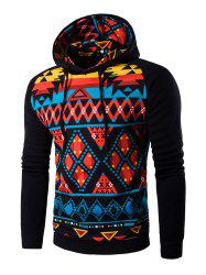 Cartoon Geometric Printed Hoodie - BLACK