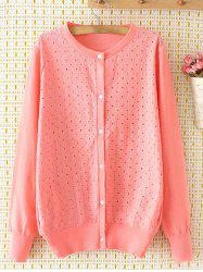 Embroidered Single-Breasted Plus Size Cardigan - PINK