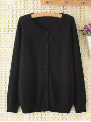 Plus Size manches longues single-breasted Cardigan - Noir