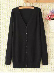 Plus Size V Neck Single-Breasted Long Cardigan - BLACK