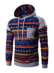 Ethnic Style Printed Hoodie - LIGHT GRAY
