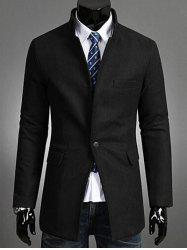 Single Button Stand Collar Wool Coat - BLACK