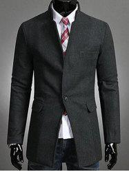 Single Button Stand Collar Wool Coat -