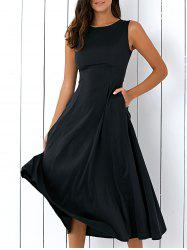 Casual Loose Fitting Tea Length Dress - BLACK