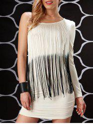 One Shoulder Fringe Cocktail Flapper Dress - WHITE