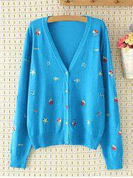 Plus Size V Neck Cartoon brodé single-breasted Cardigan -