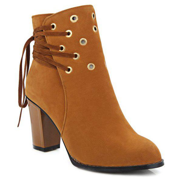 Shops Lace-Up Chunky Heel Design Short Boots