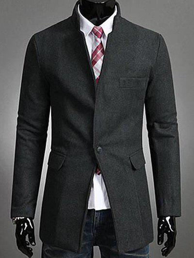 Buy Single Button Stand Collar Wool Coat