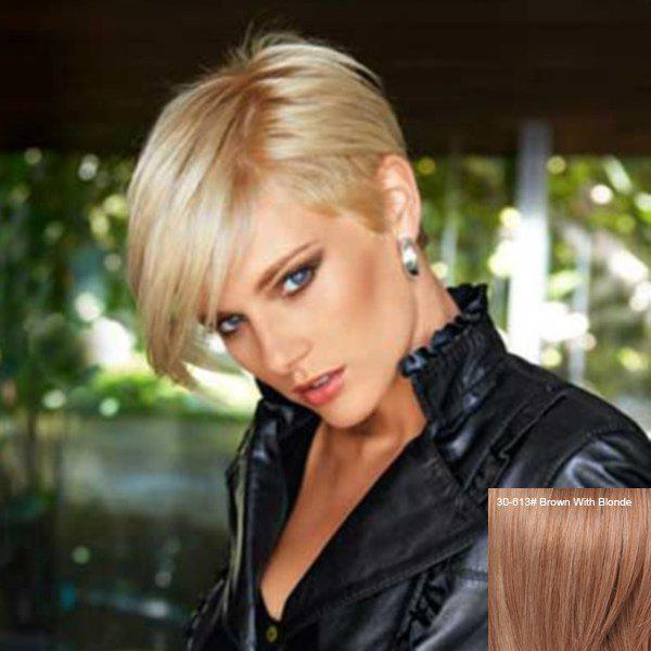 Shop Manly Short Capless Pixie Cut Side Bang Straight Human Hair Wig