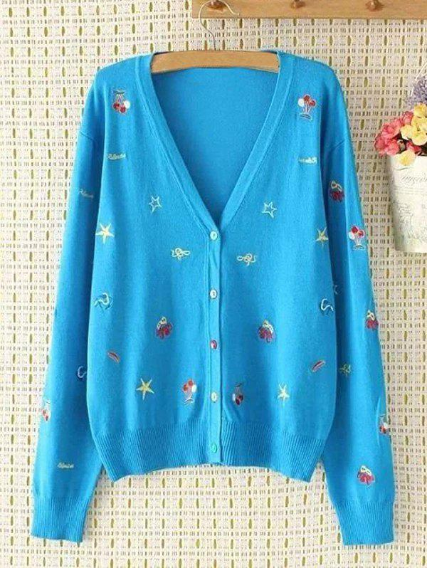 Plus Size V Neck Cartoon brodé single-breasted Cardigan