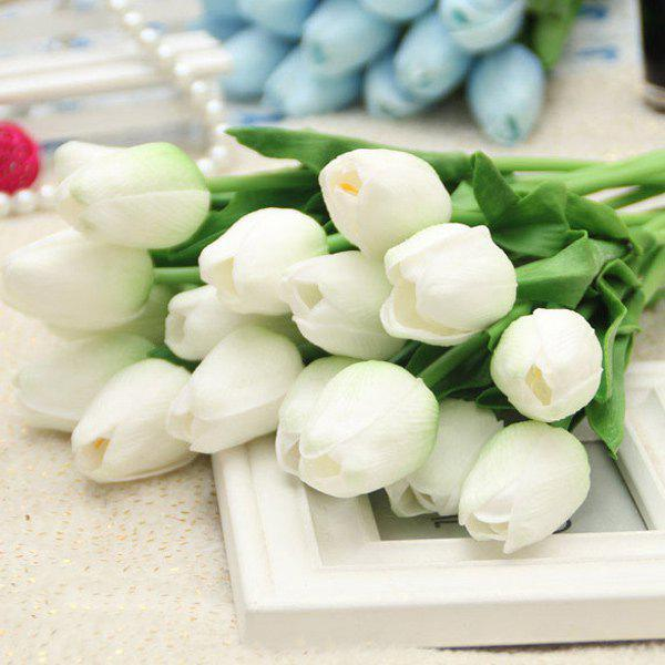 PU Real Touch Tulip Bouquet Home Decor Artificial FlowersHOME<br><br>Color: WHITE; Plant Type: Tulip; Material: Polyester; Included Product: Nothing; Length: 35CM; Height: 30CM; Weight: 0.300kg; Package Contents: 6 x Artificial Flowers(Bunch);