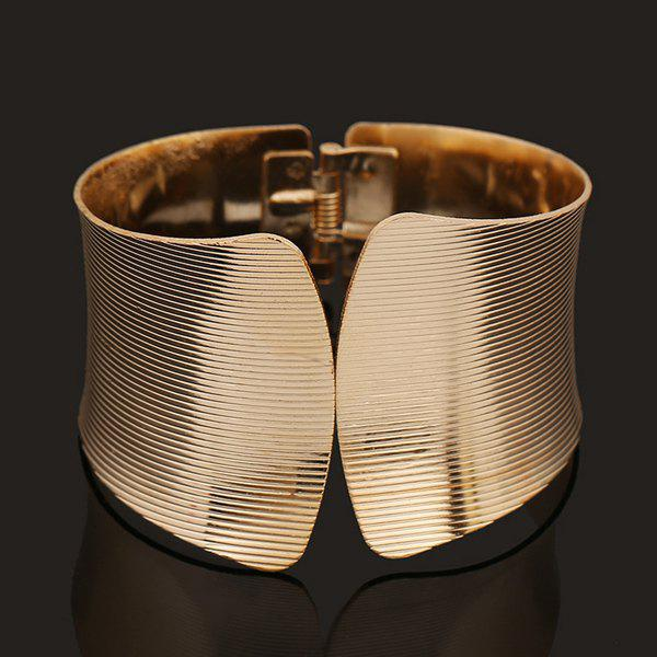 Punk Spring Stripe Polishing Cuff BraceletJEWELRY<br><br>Color: GOLDEN; Item Type: Cuff Bracelet; Gender: For Women; Chain Type: Others; Metal Type: Alloy; Style: Noble and Elegant; Shape/Pattern: Geometric; Weight: 0.076kg; Package Contents: 1 x Bracelet;