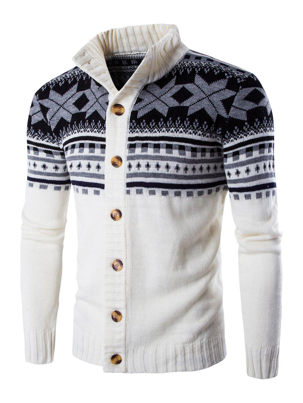 Geometric Design Long Sleeve Sweater CoatMEN<br><br>Size: M; Color: WHITE; Type: Cardigans; Material: Cotton Blends; Sleeve Length: Full; Collar: Turn-down Collar; Style: Casual; Weight: 0.500kg; Package Contents: 1 x Sweater;