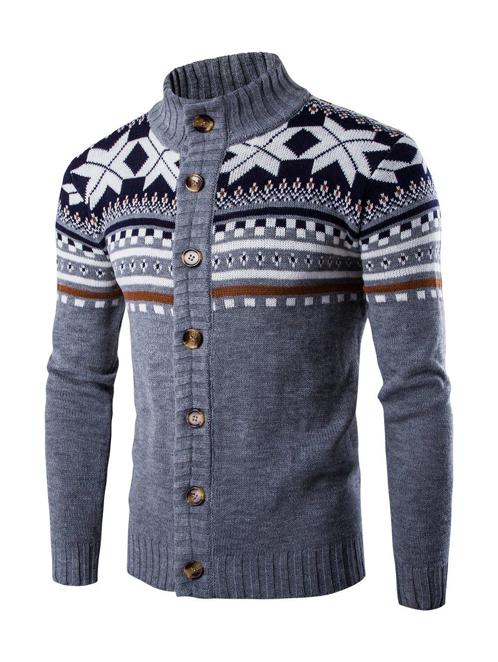 Geometric Design Long Sleeve Sweater CoatMEN<br><br>Size: L; Color: GRAY; Type: Cardigans; Material: Cotton Blends; Sleeve Length: Full; Collar: Turn-down Collar; Style: Casual; Weight: 0.500kg; Package Contents: 1 x Sweater;